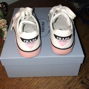 Prada Shoes - Women's Prada Tennis Shoes White with Pink